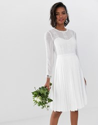 Ted Baker Bridal Lace Trim Pleated Skirt Dress White