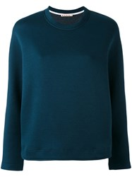 Marni Crew Neck Scuba Sweatshirt Women Cotton Polyamide 42 Blue
