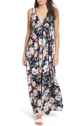 Band Of Gypsies Floral Strappy Maxi Dress Navy Floral