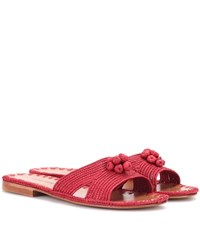 Carrie Forbes Raffia Slides Red