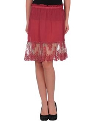 Pink Memories Knee Length Skirts Maroon