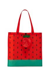 Forever 21 Strawberry Print Pop Out Tote Bag Red Multi