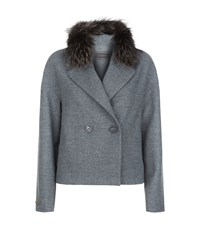 Peserico Fur Collar Cocoon Coat Female Grey