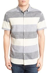 Jeremiah Cage Regular Fit Stripe Short Sleeve Chambray Sport Shirt Gray