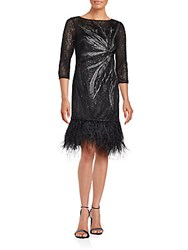 Rickie Freeman For Teri Jon Sequined Feather Hem Dress Black