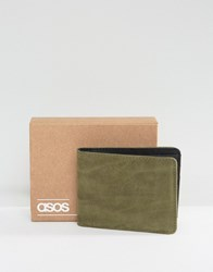 Asos Wallet In Khaki Faux Leather Khaki Green
