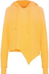 Lna Nev Asymmetric Cotton Fleece Hooded Sweatshirt Marigold