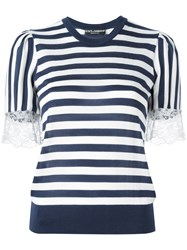 Dolce And Gabbana Striped Lace T Shirt White