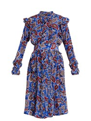 Dodo Bar Or Jagger Paisley Print Silk Dress Blue Print