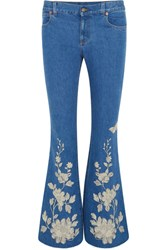Gucci Embroidered High Rise Flared Jeans Mid Denim