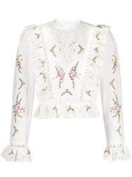 Zimmermann Embroidered Lace Top White