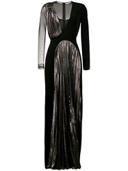 Christopher Kane Pleated Panel Long Dress Women Silk Polyester Spandex Elastane Viscose 38 Black