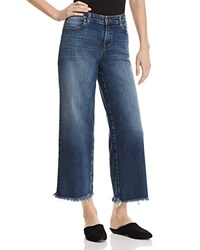 Eileen Fisher Frayed Wide Leg Ankle Jeans In Aged Indigo