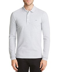 Lacoste Croc Stretch Long Sleeve Slim Fit Polo Silver Gray Chine