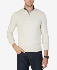 Nautica Men's Quarter Zip Sweater Marshmallow