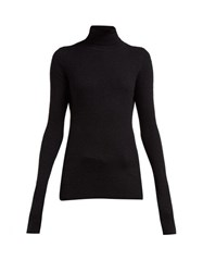 Raey Roll Neck Fine Rib Cashmere Sweater Black