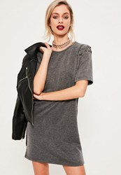 Missguided Grey Eyelet Lace Up Sleeve Wash T Shirt Dress