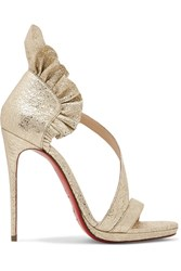 Christian Louboutin Colankle 120 Ruffled Metallic Cracked Leather Sandals Gold