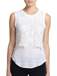 Generation Love Lace Overlay Muscle Tank White