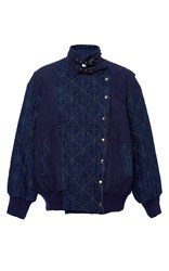 Sea Wool Linen Stitch Denim Jacket Navy