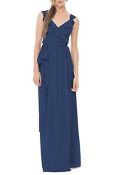 Women's Ceremony By Joanna August 'Lacey' Ruffle Wrap Chiffon Gown Tangled Up In Blue