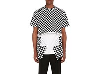 Givenchy Men's Zipper Detailed Checked Cotton Jersey T Shirt Black White No Color