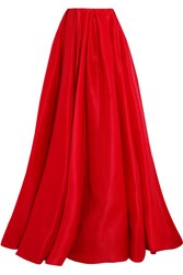 Reem Acra Pleated Silk Gazar Maxi Skirt Red