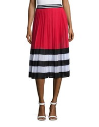 Michael Michael Kors Block Striped Pleated Skirt Red