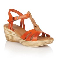 Lotus Parmaggiano Wedge Sandals Orange