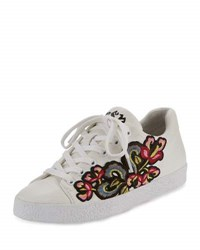 Ash Nak Bis Embroidered Leather Sneaker White Red White Red