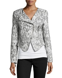 Raison D'etre Snake Print Faux Leather Cropped Jacket Gray