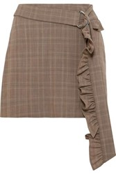 Maggie Marilyn Got My Mind Made Up Belted Checked Organic Wool Mini Skirt Brown
