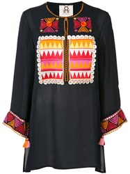 Figue Embroidered Tunic Top Blue