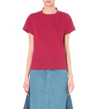 Sacai Floral Lace And Linen Blend T Shirt Red