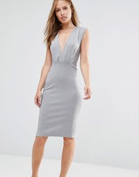 Alter V Neck Pencil Midi Dress Light Grey