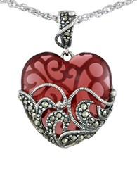Lord And Taylor Marcasite Heart Pendant Necklace Red
