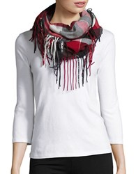Lord And Taylor Fringed Plaid Infinity Scarf Red