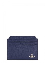 Vivienne Westwood Navy Grained Leather Card Holder Blue