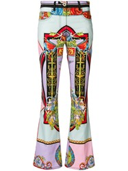 Versace Angel Print Flared Trousers Multicolour