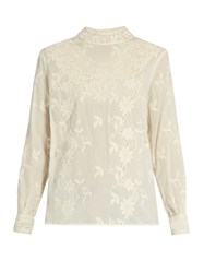 Sea Long Sleeved Floral Embroidered Cotton Top Cream