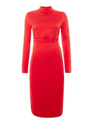 Lost Ink Longsleeve Satin Backed Frill Dress Red