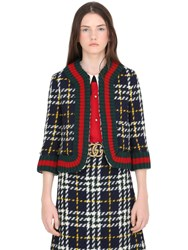 Gucci Macro Prince Of Wales Wool Knit Jacket