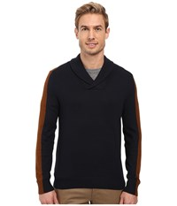 Perry Ellis Color Block Shawl Collar Pullover Dark Sapphire Men's Clothing Blue