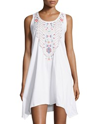 Jwla By Johnny Was Embroidered Handkerchief Hem Tank Dress White Multi