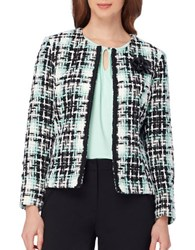 Tahari By Arthur S. Levine Petite Tweed Check Open Front Jacket Mint