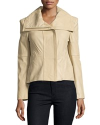 Neiman Marcus Asymmetric Leather Jacket Champagne