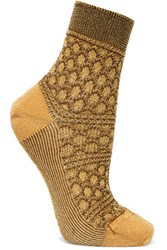 Missoni Metallic Crochet Knit Socks Mustard
