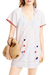 J.Crew Women's Embroidered Pompom Linen And Cotton Cover Up
