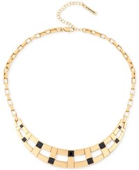 T Tahari Gold Tone Jet Crystal Collar Necklace
