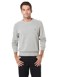 Original Penguin Raglan Sleeve Cotton Crew Neck Jumper Grey